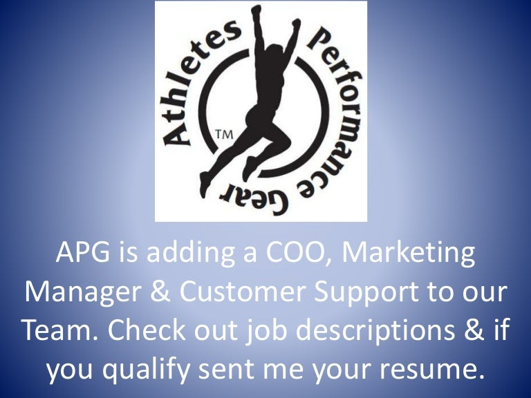 Coo, Marketing Manager And Customer Support Job Descriptions