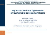 Carlo Carraro: Impacts of the Paris Agreement on Sustainable Development Goals