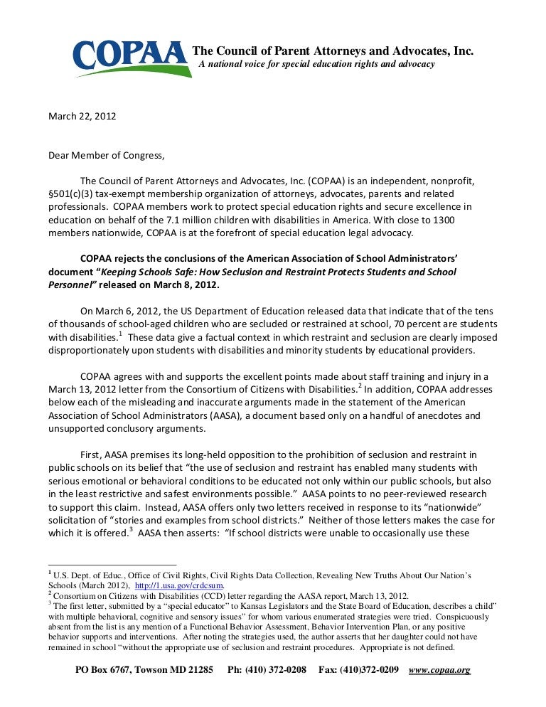 Would Special Education Rights Be Safe >> Copaa S Response To