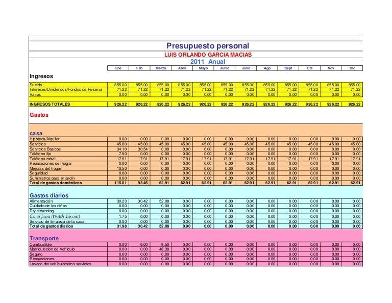 Copia de presupuesto personal