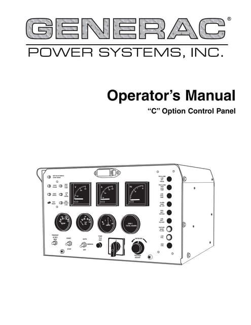 C option control panel operator's manual Generac on