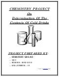 Chemistry Investigatory Project on COLD DRINKS