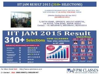 IIT JAM 2015 RESULT
