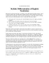 Copy of stylistic differentiation of english vocabulary