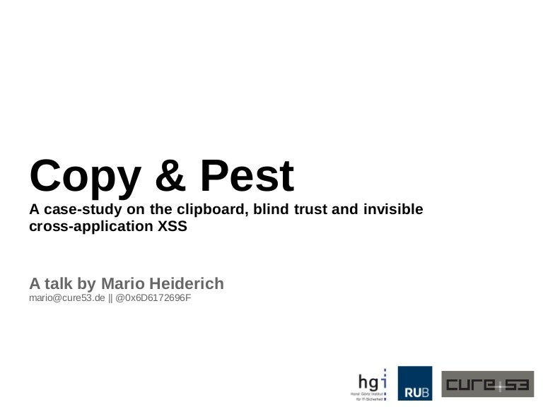 Copy & Pest - A case-study on the clipboard, blind trust and