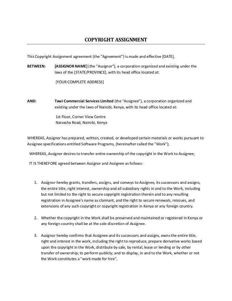 Tawi Copyright Assignment Agreement