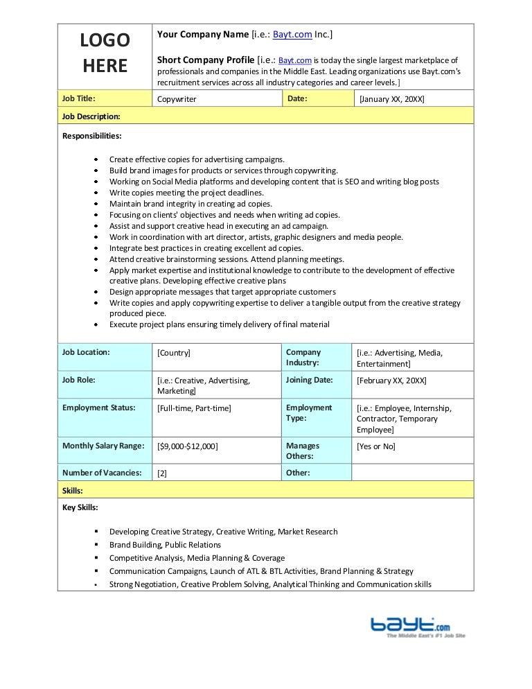 Copywriter Job Description Template by Bayt – Copywriter Job Description