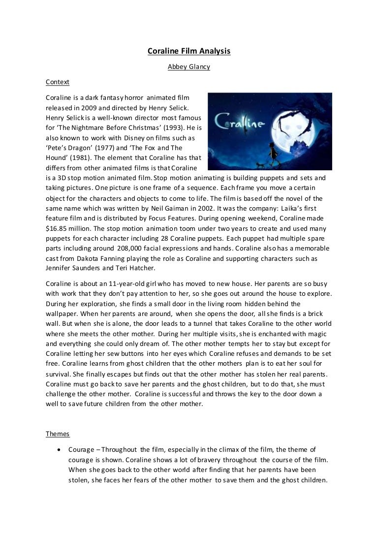 Coraline Film Analysis