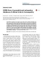 CORE-Hom: A powerful and exhaustive database of clinical trials in homeopathy