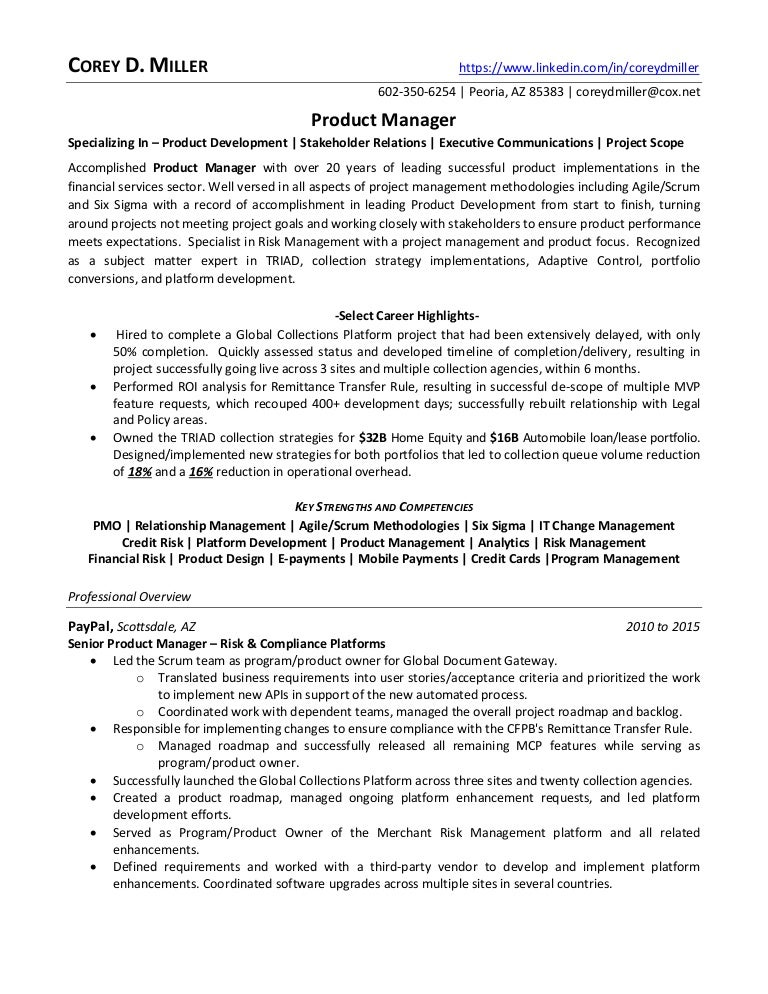 Senior Product Manager Resume Senior Product Manager Resume