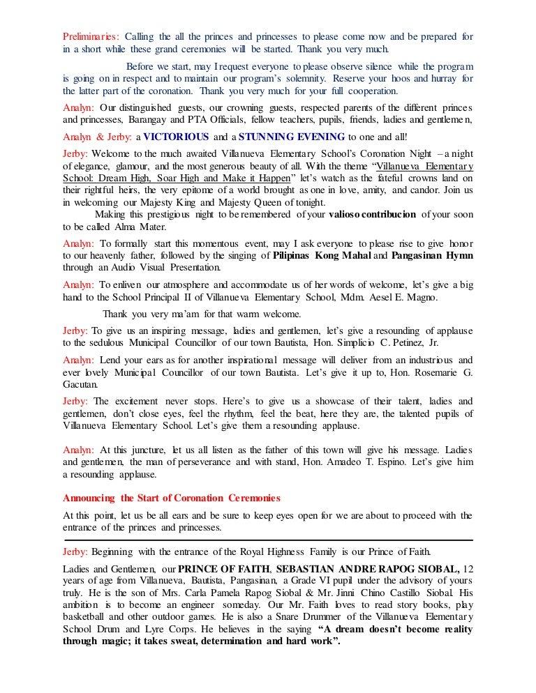 Coronation Night Script