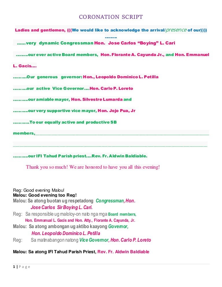 sample barangay fiesta program