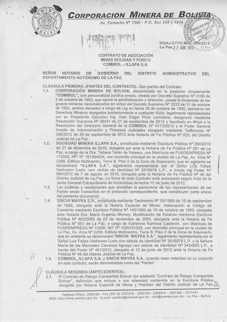 Corporación minera de bolivia contrato de asociación minas bolivar y …