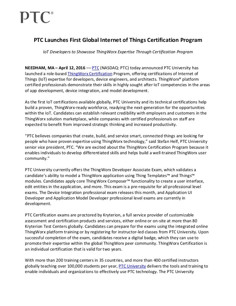 Ptc Launches First Global Internet Of Things Certification Program