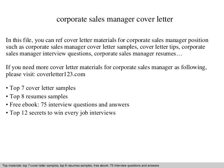 Corporate sales manager cover letter