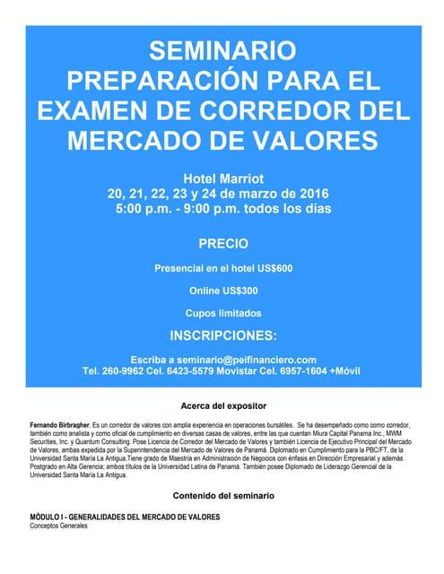 Seminaro preparación para el exámen de corredor del mercado de valores