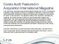 Corsis | Corsis IT Due Diligence Audit Featured in Acquisition International Magazine