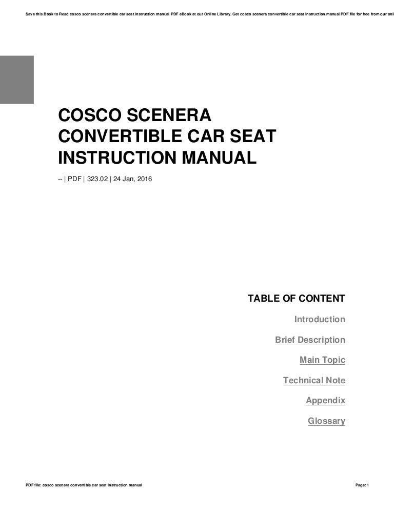 Cosco scenera car seat instructions