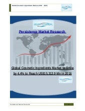 Global Cosmetic Ingredients Market to Grow by 4.4% to Reach US$15,313.9 Mn in 2016
