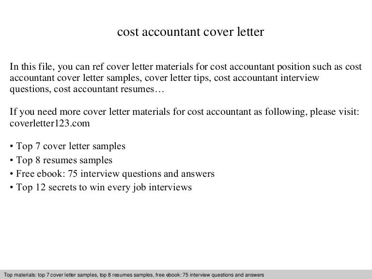 Amazing Cost Accountant Cover Letter