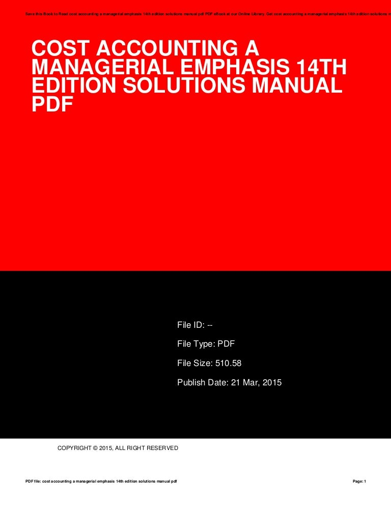 Cost Accounting 14th Edition Textbook Solutions