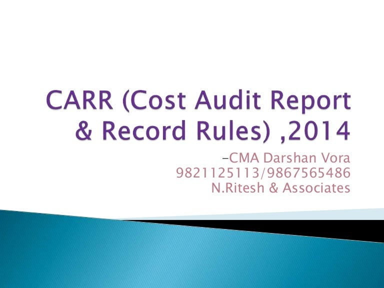 Cost Audit Report Rules 2014