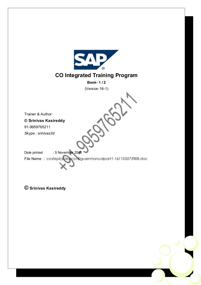 SAP CO step by step config guide & user manual part 1