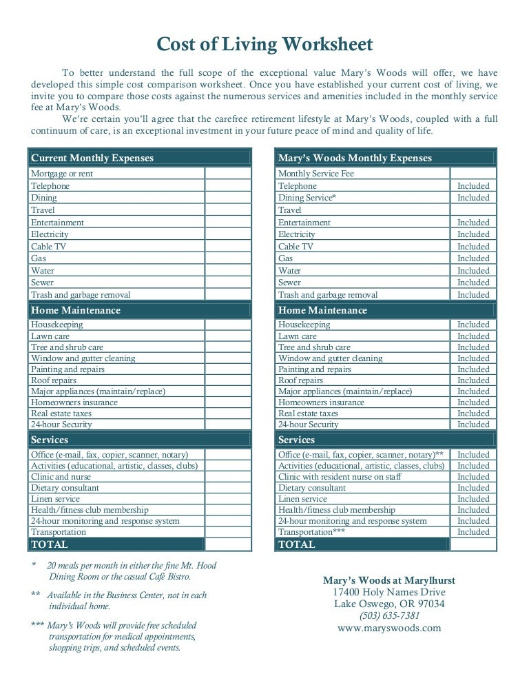 Cost Of Living Worksheet - Rringband