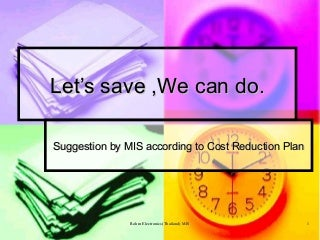 Cost Reduction Plan