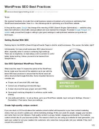 WordPress seo best practices - the best way to optimise a WordPress website
