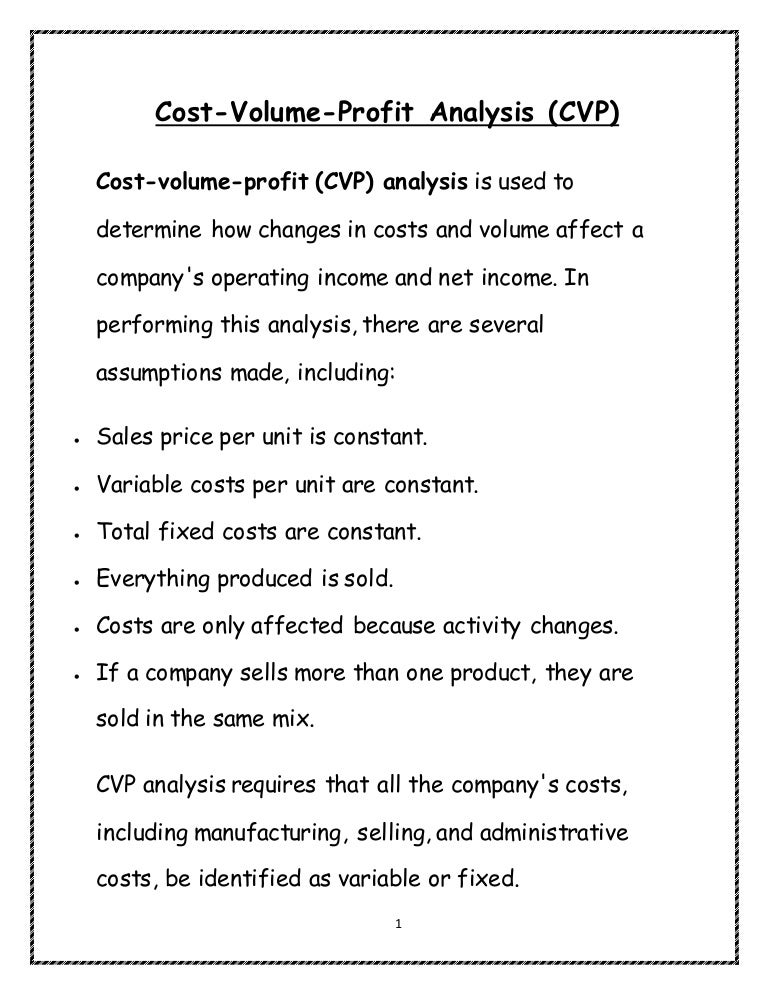 cost volume profit analysis notes pdf