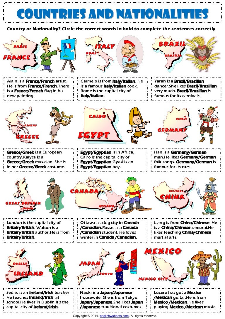 Countries and nationalities 20 vocabulary exercise worksheet