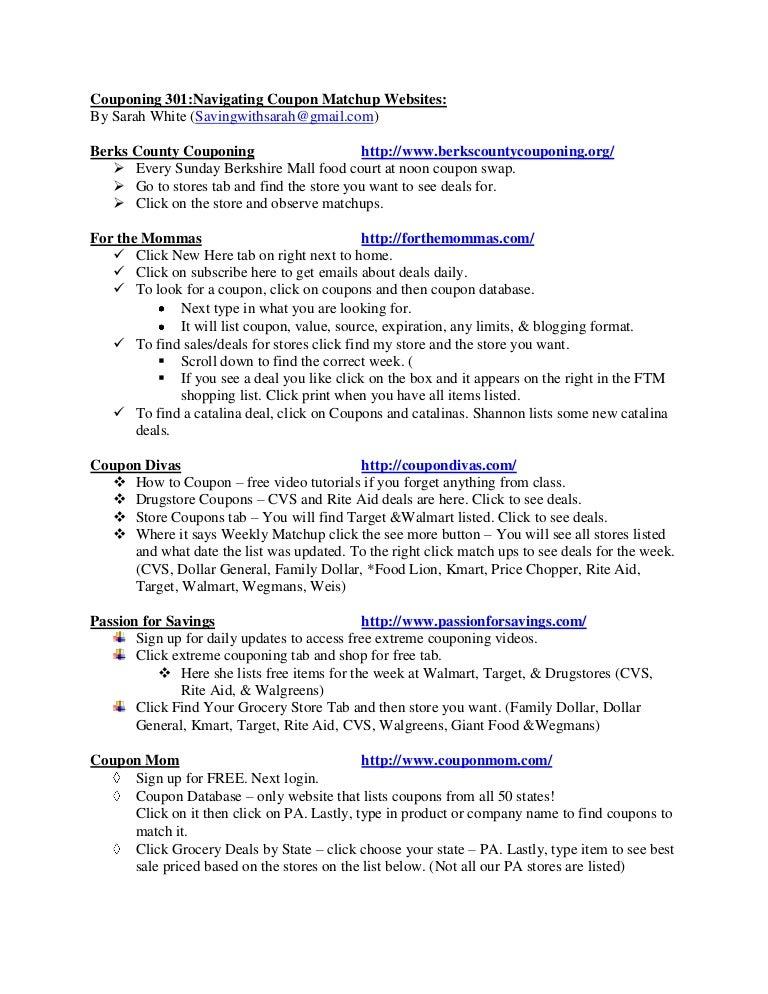 Couponing 301 Handouts Navigating Coupon Matchup Websites