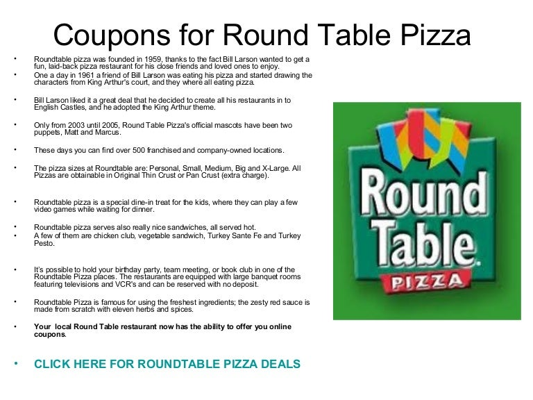 Round Table Large Pizza Size.Coupons For Round Table Pizza