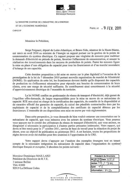 Courrier .Besson - D.Maillard / RTE