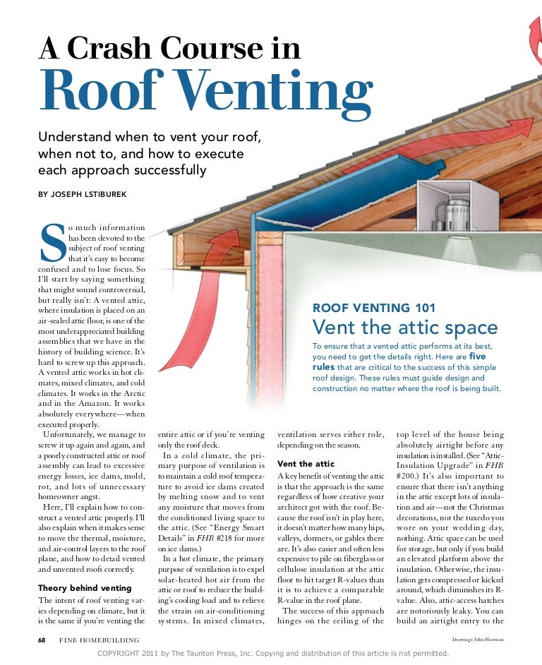 Course In Roof Venting