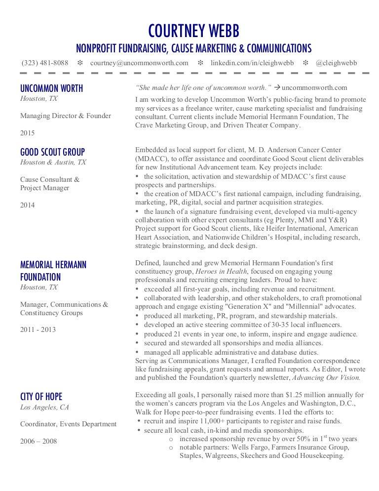 courtney webb u0026 39 s cause marketing  u0026 nonprofit fundraising resume