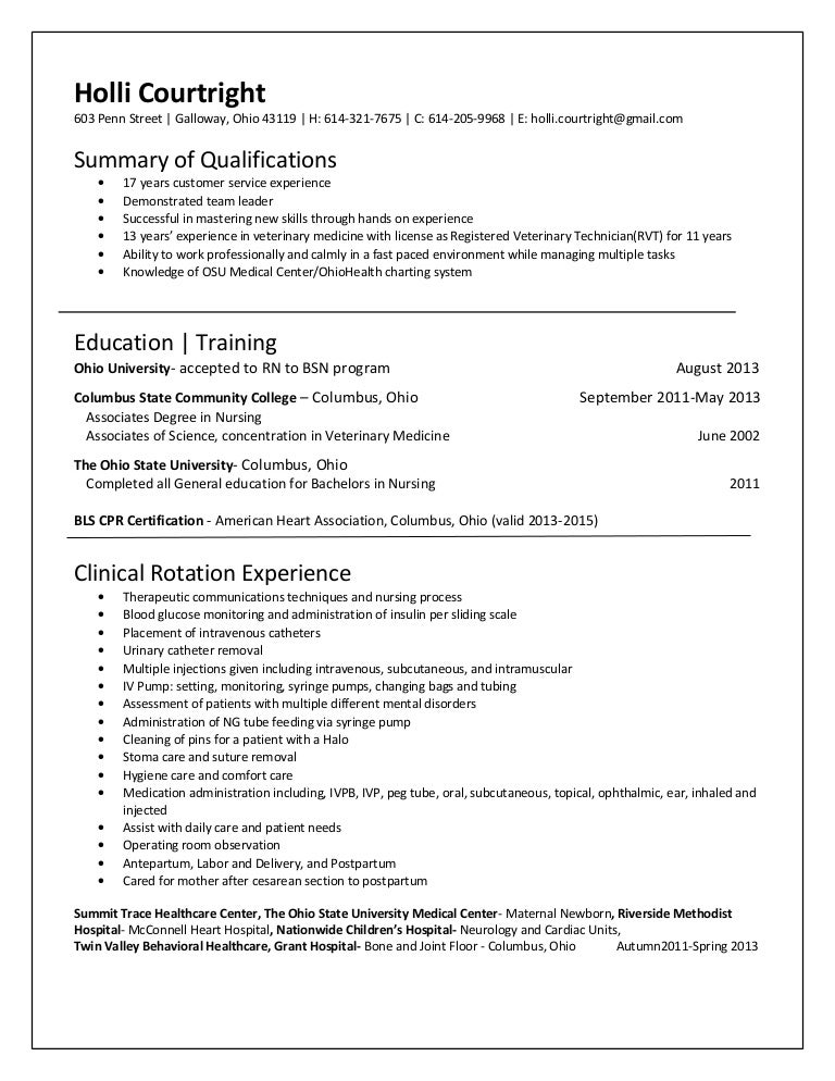 med surg resume