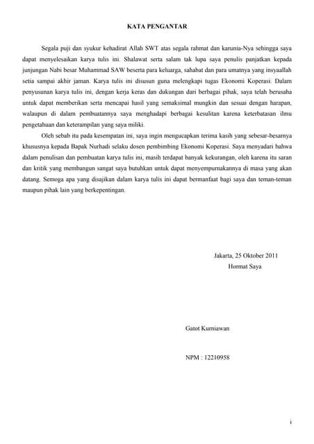 Kata Pengantar Dan Daftar Isi Ekonomi Koperasi