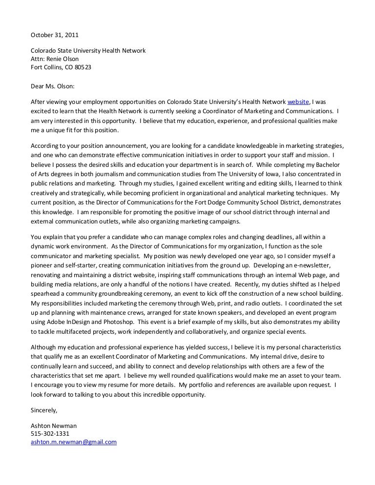 Cover Letter Csu Coordinator Of Marketing And Communications