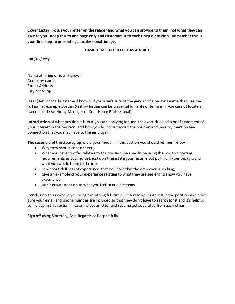 Cover Letter Basics Template