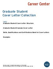 Graduate Student Example Cover Letters