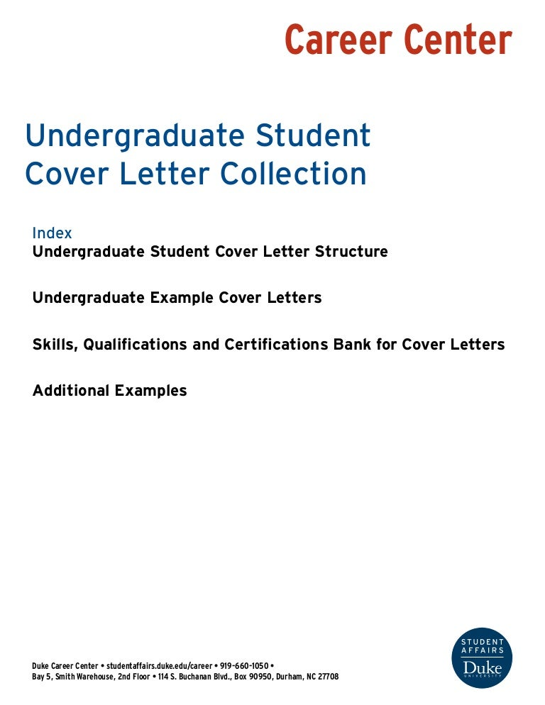 Undergraduate Student Cover Letter Collection Duke University