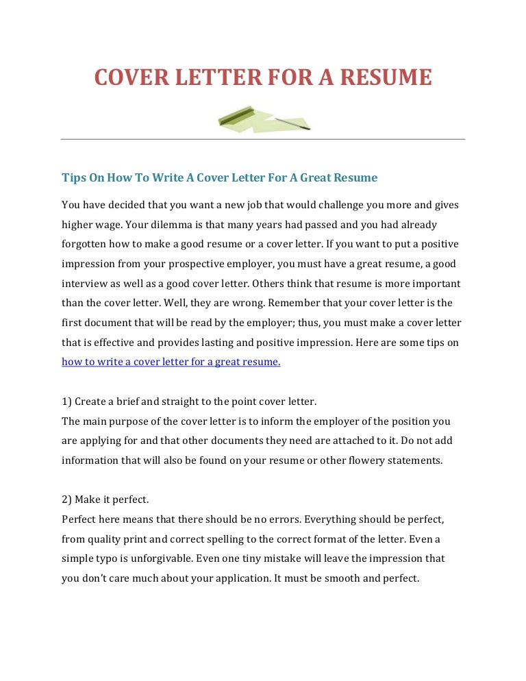 how do you make a cover letter for a resume