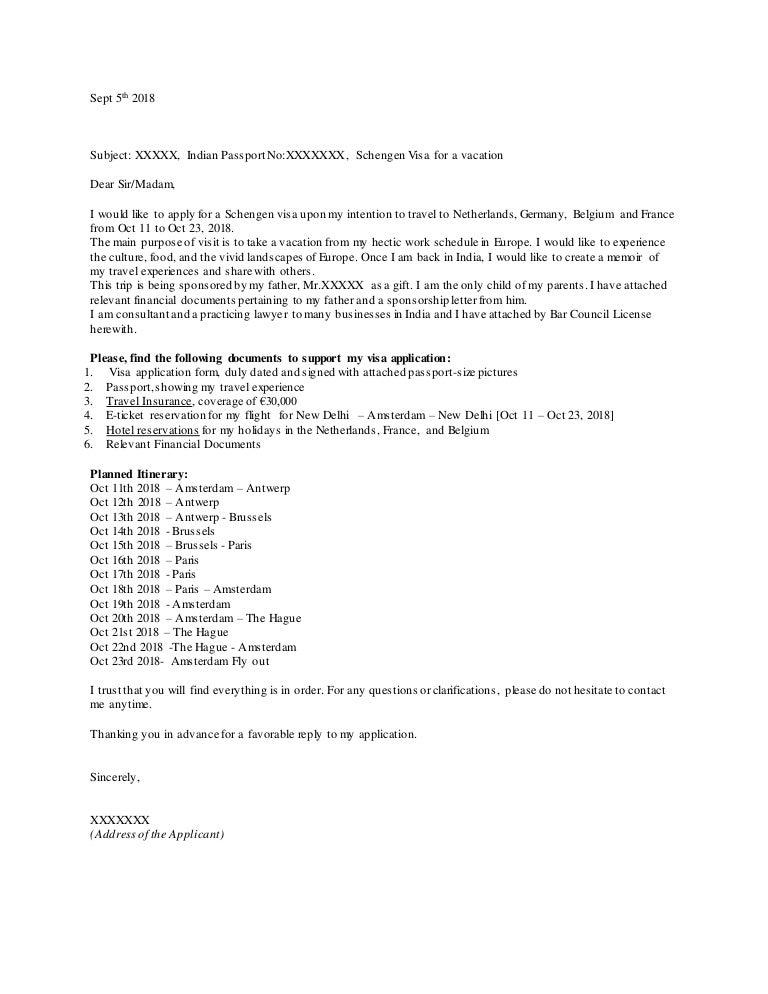 Sample Cover Letter For Schengen Visa