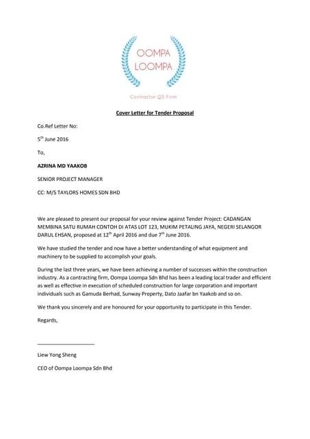 Cover Letter For Tender Proposal