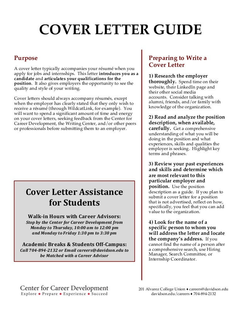 college cover letter guide