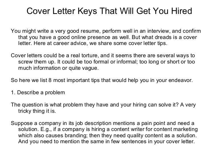 Cover Letter Keys That Will Get You Hired