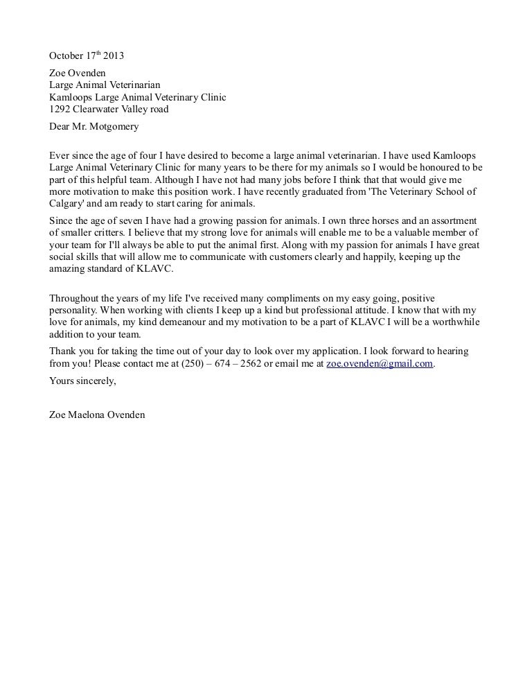 Cover Letter To Veterinary Clinics