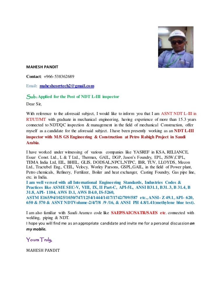 Ndt Inspector Cover Letter